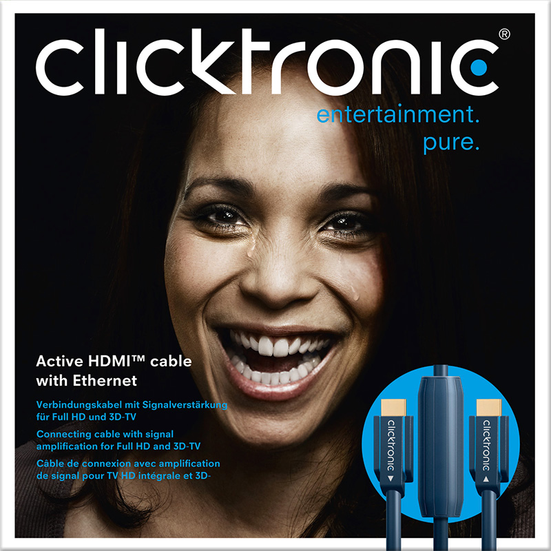 CLICKTRONIC Aktywny kabel HDMI™ A Full HD/3D-TV 25m