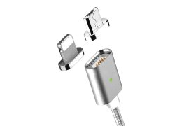 Kabel magnetyczny 2 w 1 MOC dla iPhone i Android Silver