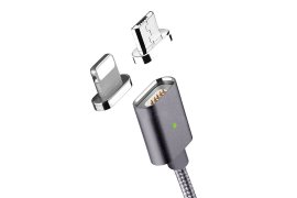 Kabel magnetyczny 2 w 1 MOC dla iPhone i Android Space Grey