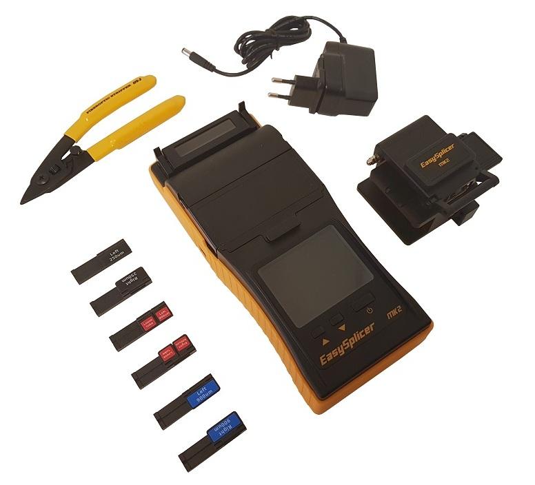 Zawartość zestawu podręcznej spawarki światłowodowej EasySplicer MK2