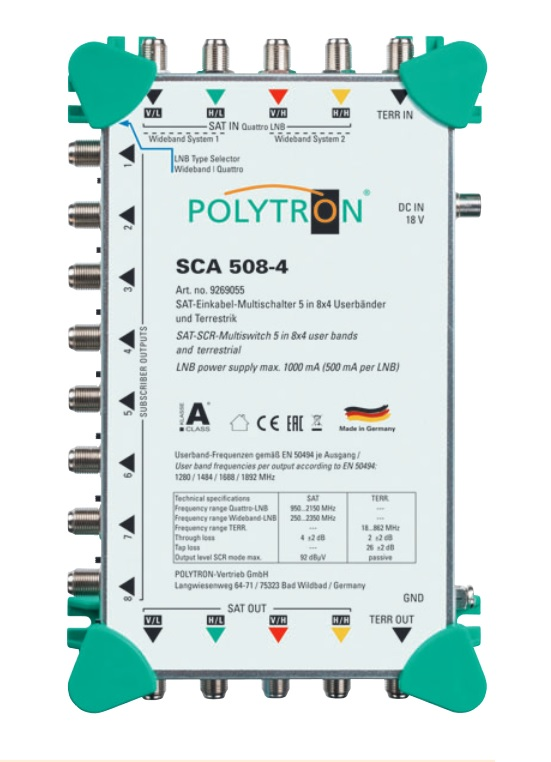 Multiswitch Unicable I POLYTRON SCA 508-4