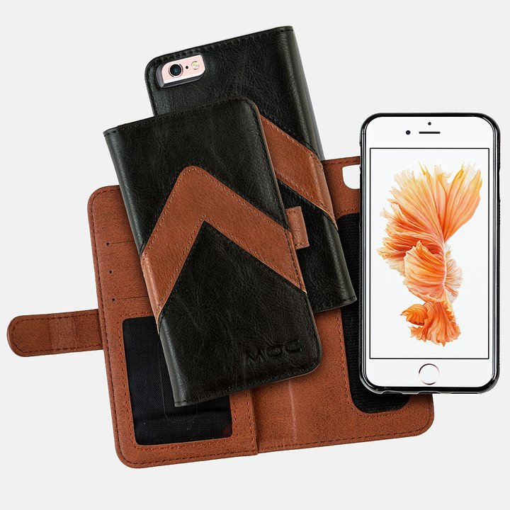 Portfel + etui na telefon MOC Velcro m-Leather Wallet na iPhone 6/7/8 Black