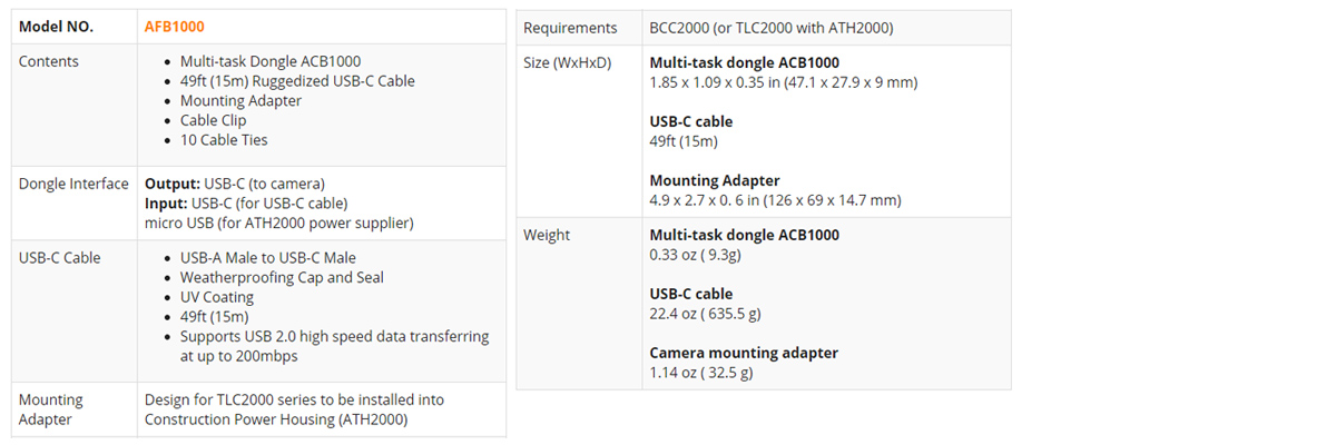 Dane techniczne kabla Brinno AFB1000