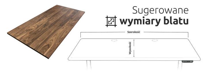 Sugerowany wymiary blatu biurka elektrycznego