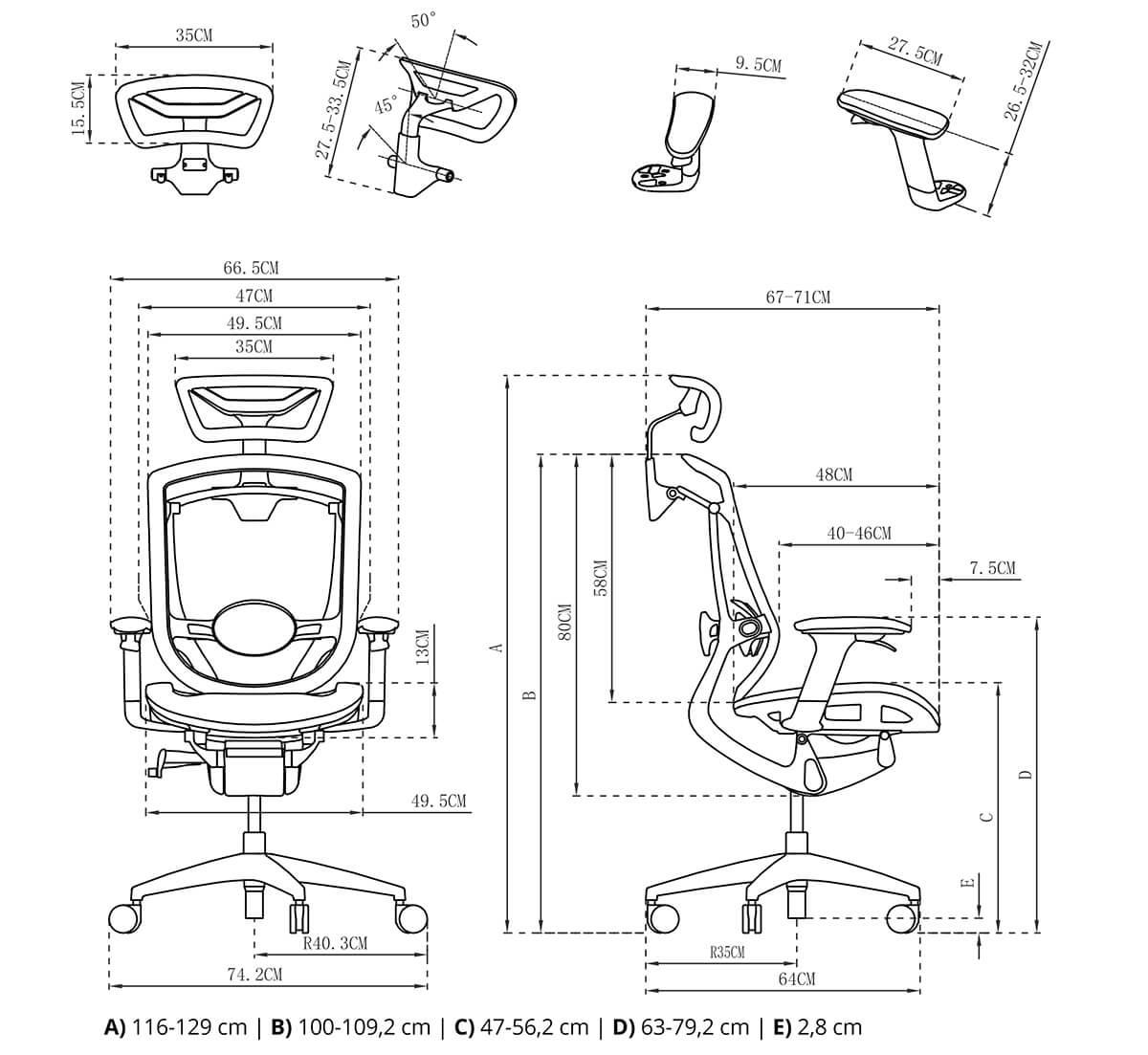 Rysunek techniczny opis krzesła ergoline spacetronik