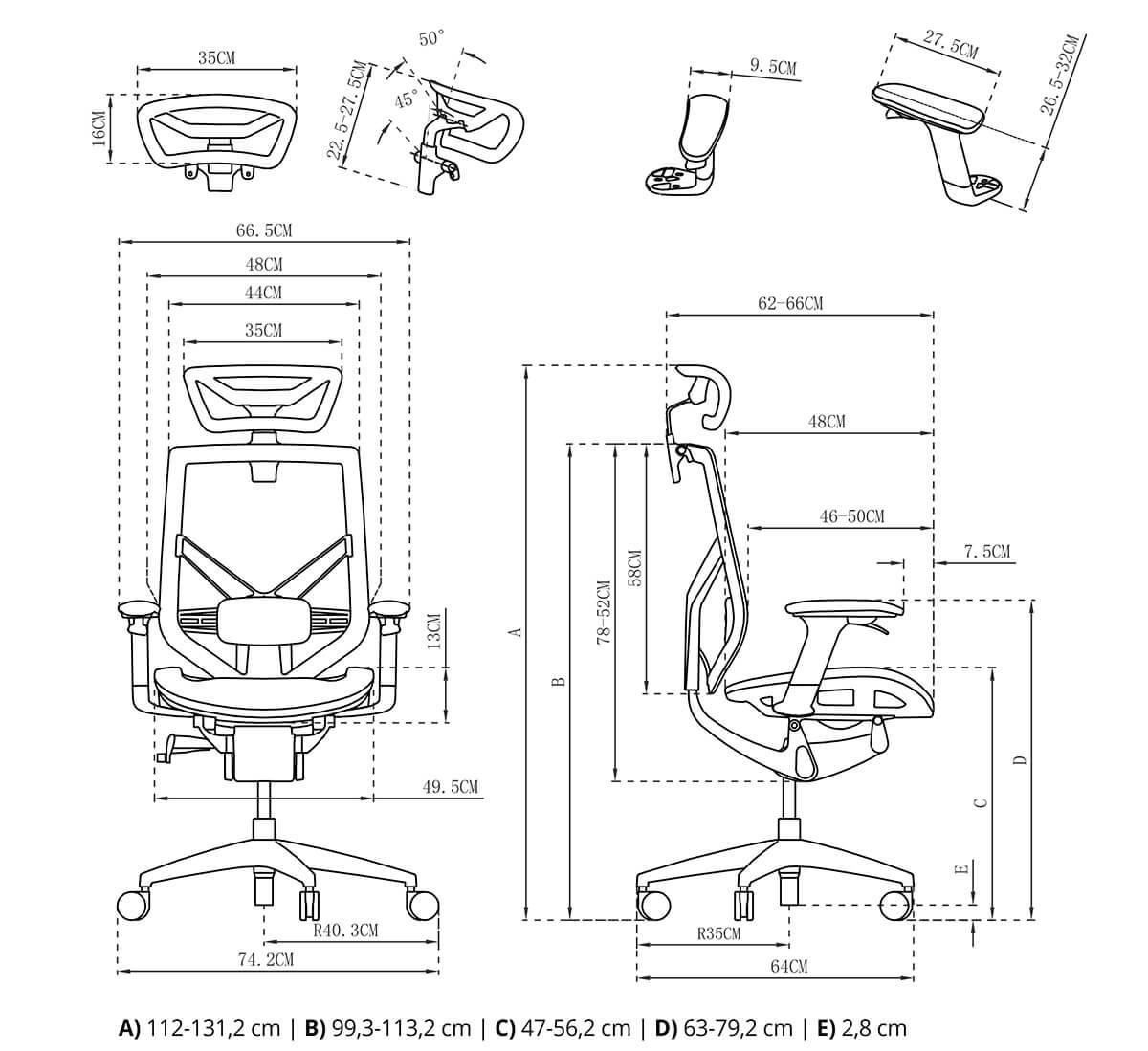 wymiary fotela rysunek techniczny spacetronik ergoline