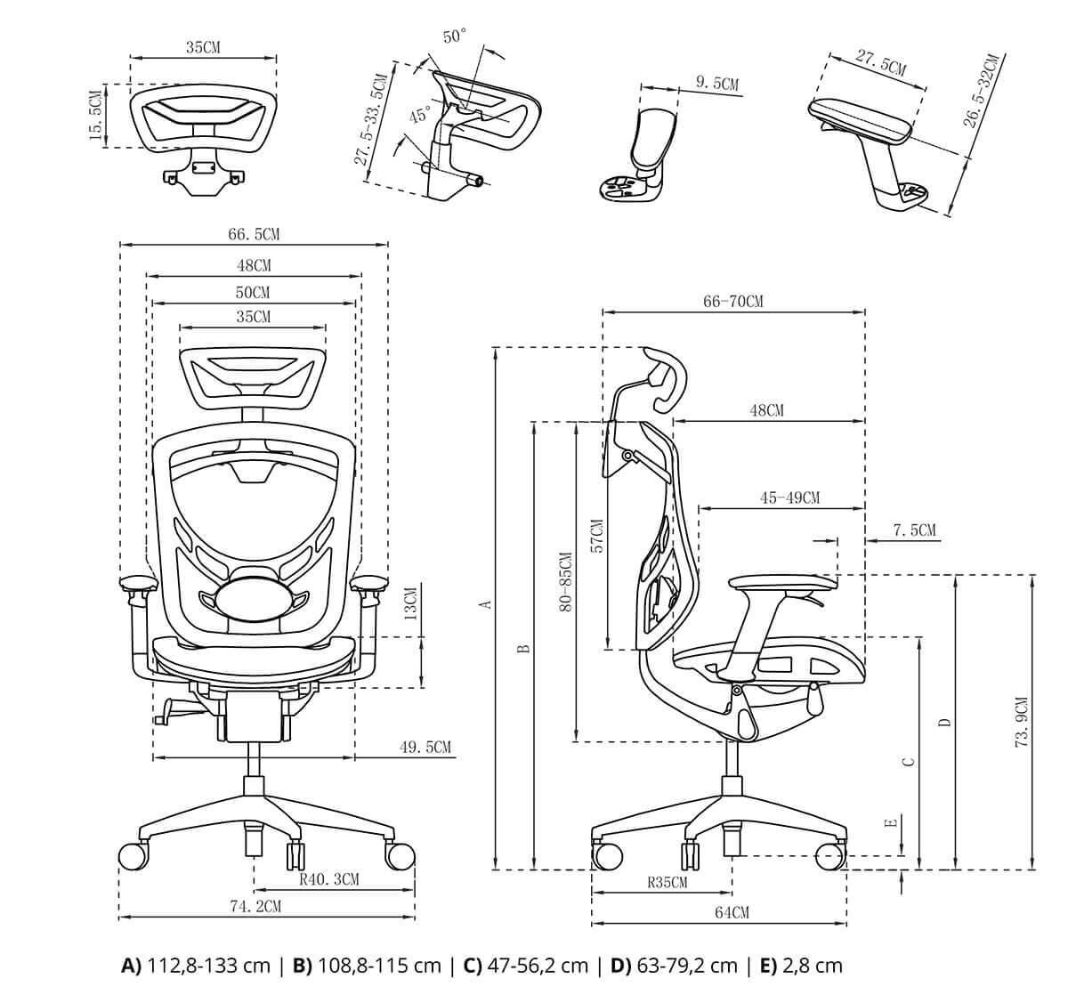 Fotel biurowy rysunek techniczny