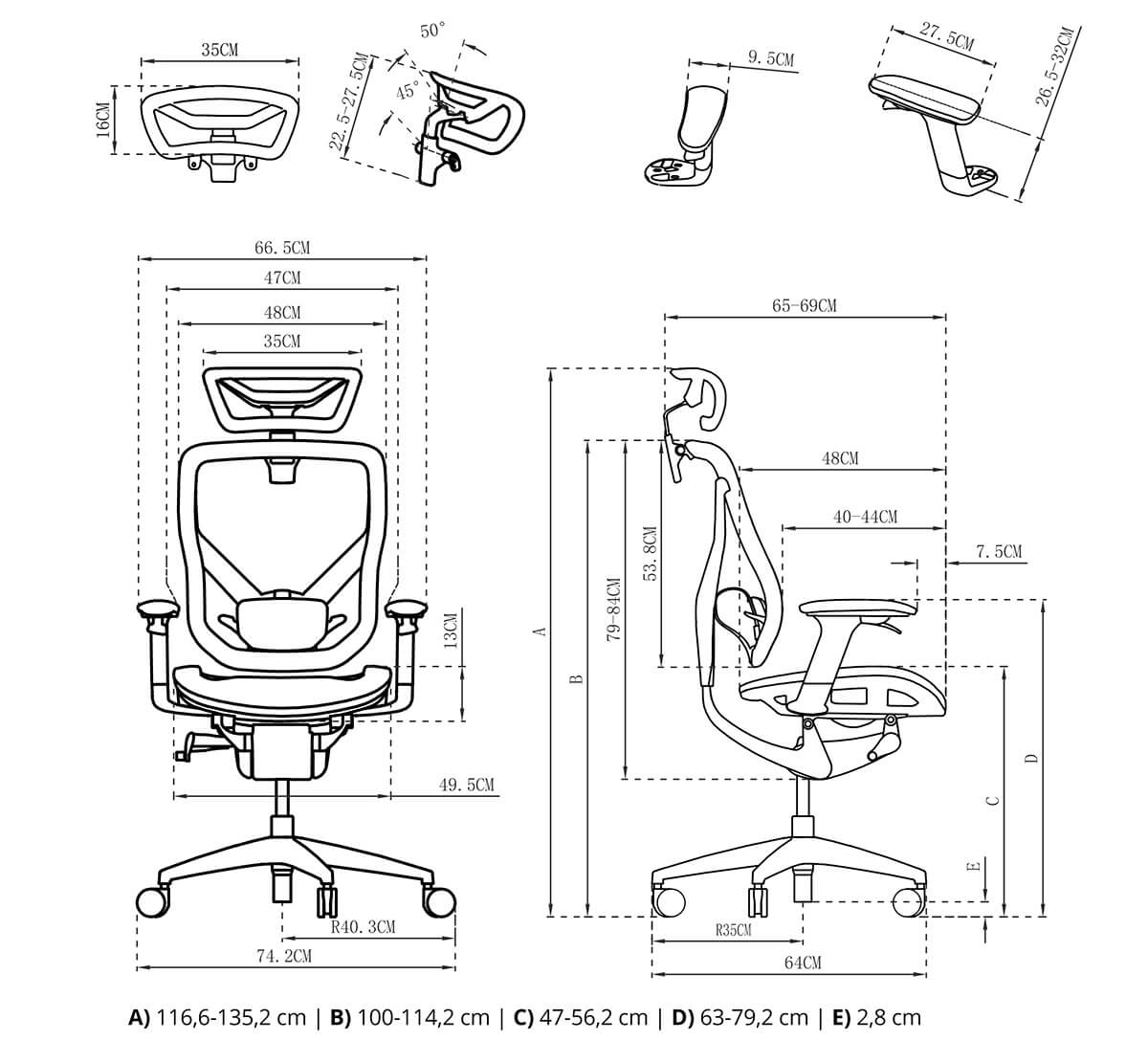 Rysunek techniczny krzesło fotel ergoline