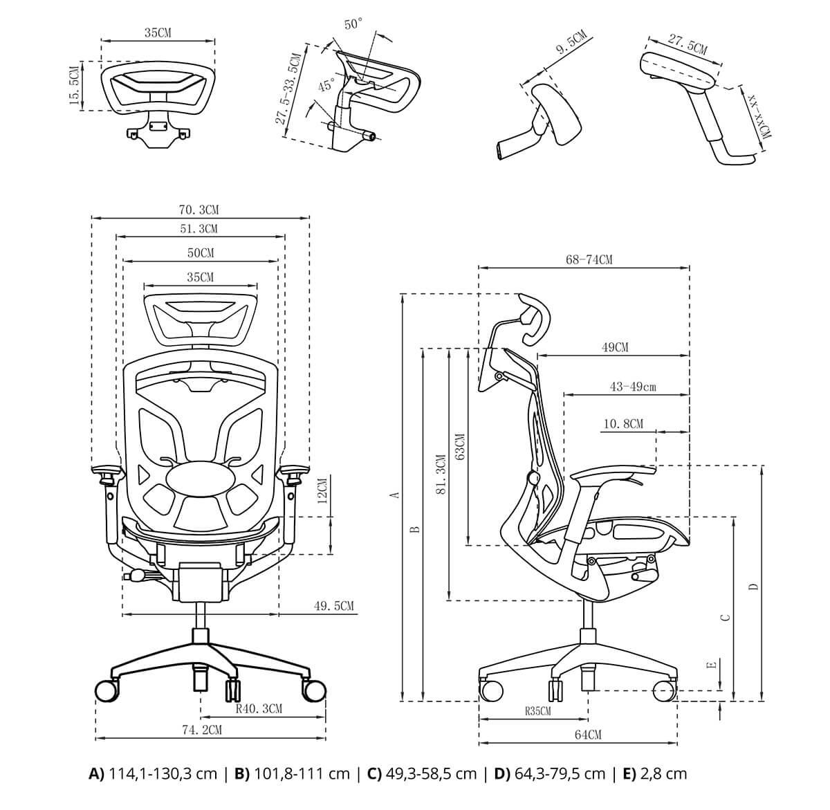 Ergonomiczny fotel spacetronik ergoline rysunek techniczny budowa opis krzesła