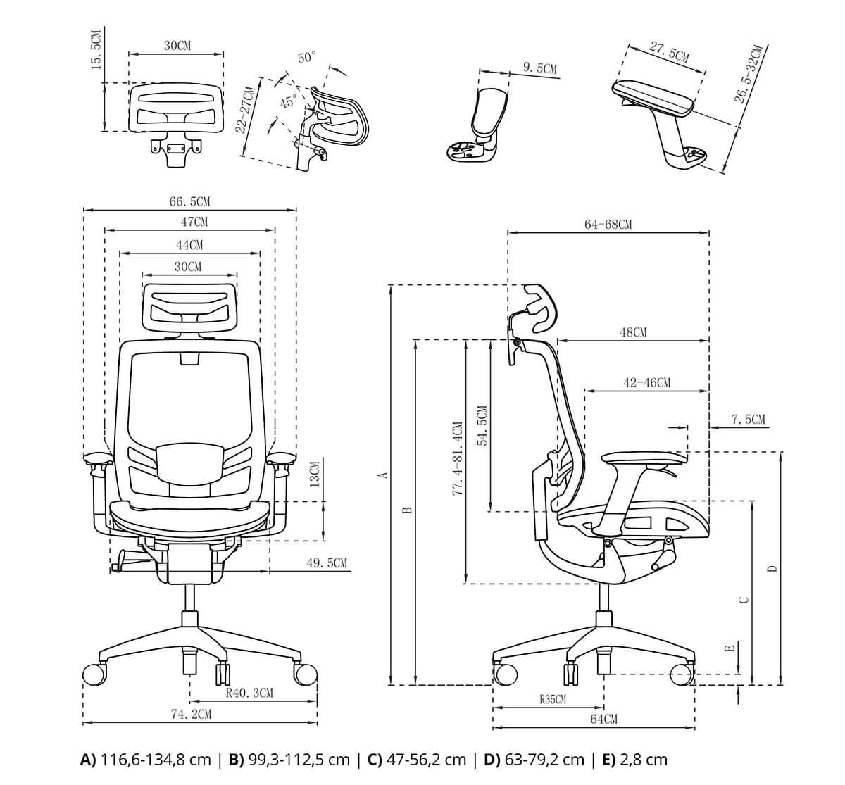 Fotel biurowy Mizar rysunek techniczny