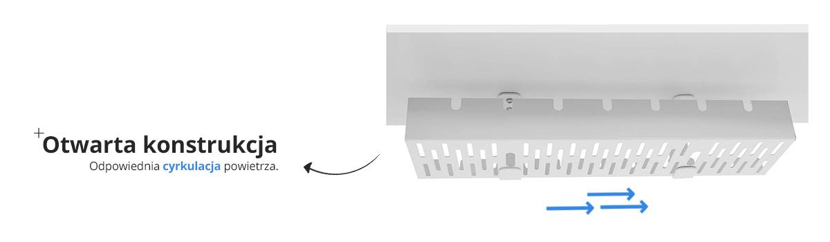 Cyrkulacja powietrza w organizerze kabli Spacetronik Ergoline SPK-520