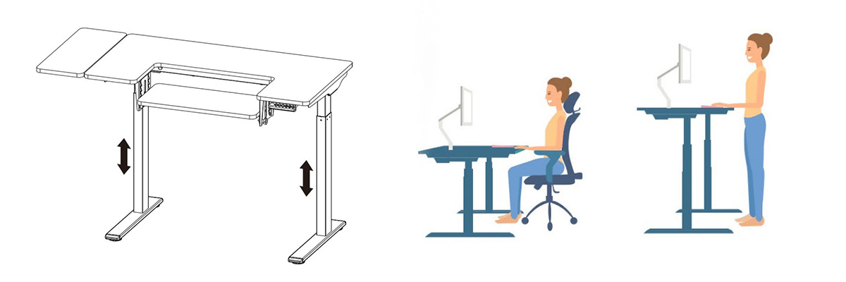 Regulacja wysokości, pracuj na stojąco lub siedząco