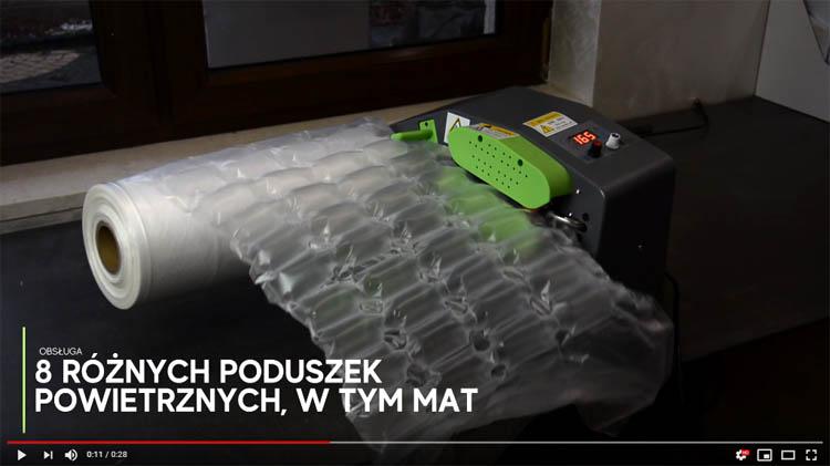 film pokazujący pracę maszyny wypełniacza powietrza Spacetronik SPA-M2