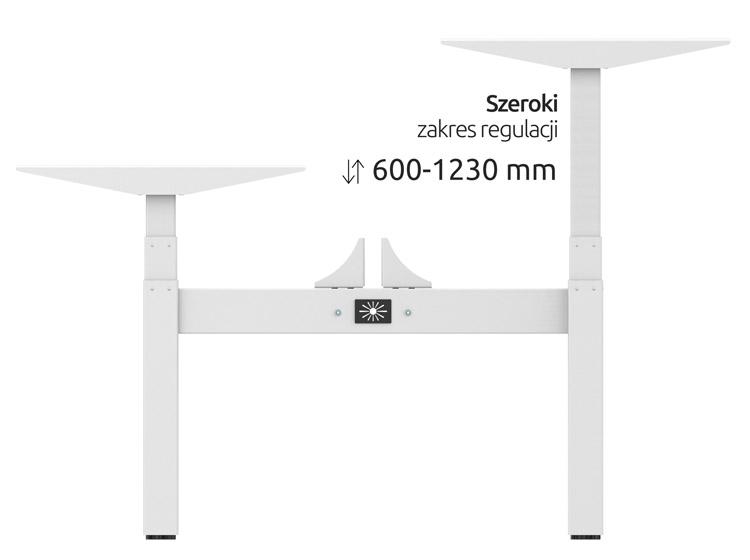 Zakres regulacji elektryczne biurko ergonomiczne