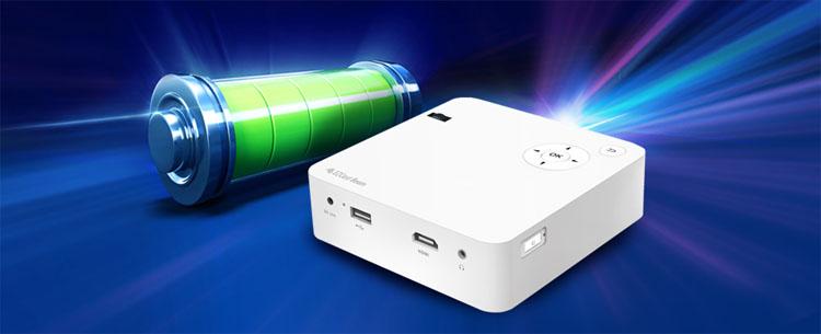 Wbudowany akumulator mini projektor hdmi usb wifi smartfon EZCast Beam J2