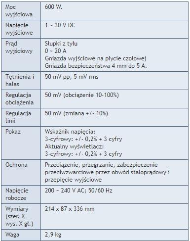 Zasilacz laboratoryjny 20A PeakTech 6155 - Specyfikacja techniczna
